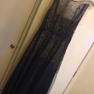 Floor length navy and gold Tahari (16) dress.